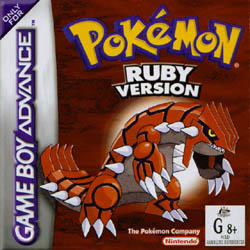 boite du jeu pokemon rubis saphire sur nintendo game boy color