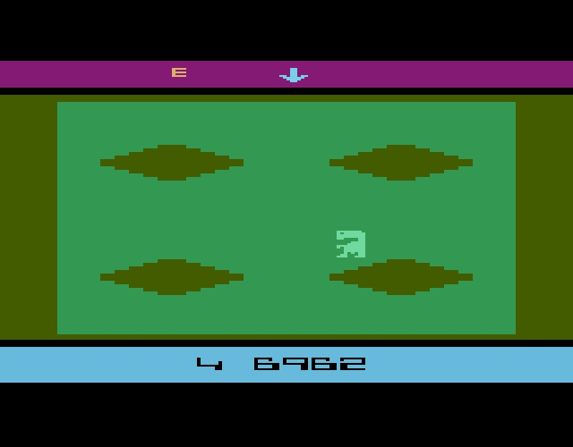une photo d'écran de E.T. The Extra-Terrestrial sur Atari 2600