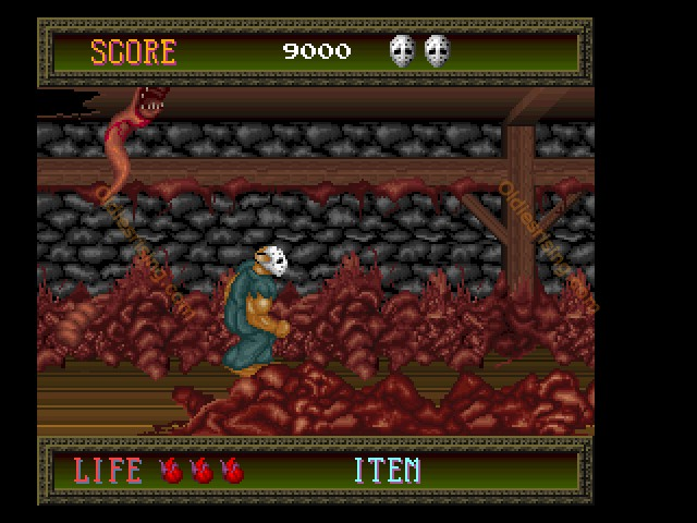 une photo d'écran de Splatterhouse sur FM TOWNS Marty