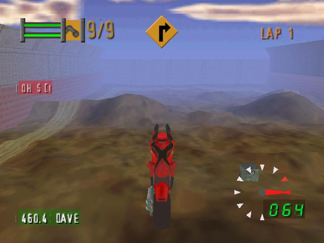 une photo d'écran de Road Rash 64 sur Nintendo 64