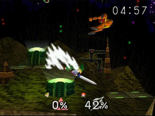 une photo d'écran de Super Smash Bros sur Nintendo 64