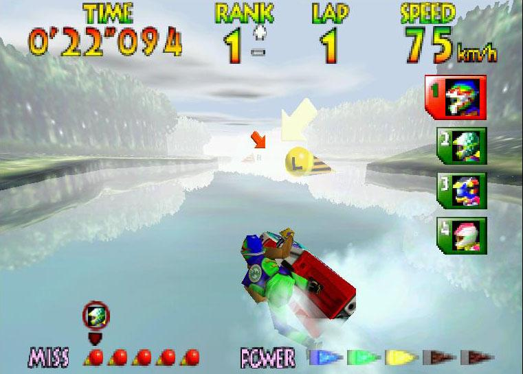 une photo d'écran de Wave Race 64 sur Nintendo 64