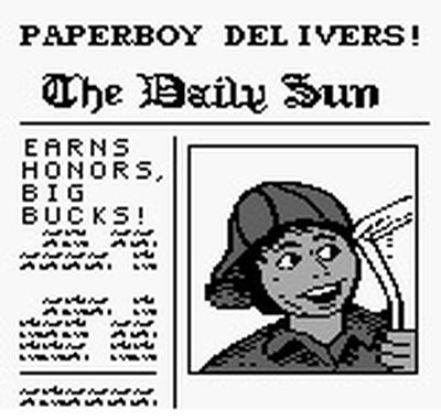 une photo d'écran de Paperboy sur Nintendo Game Boy