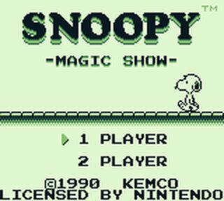une photo d'écran de Snoopy s Magic Show sur Nintendo Game Boy