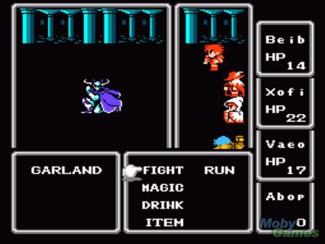 une photo d'écran de Final Fantasy sur Nintendo Nes