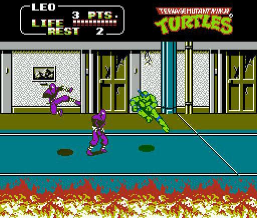 une photo d'écran de Teenage Mutant Hero Turtles II - The Arcade Game sur Nintendo Nes