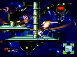 une photo d'écran de Earthworm Jim sur Nintendo Super Nes