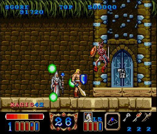 une photo d'écran de Magic Sword sur Nintendo Super Nes