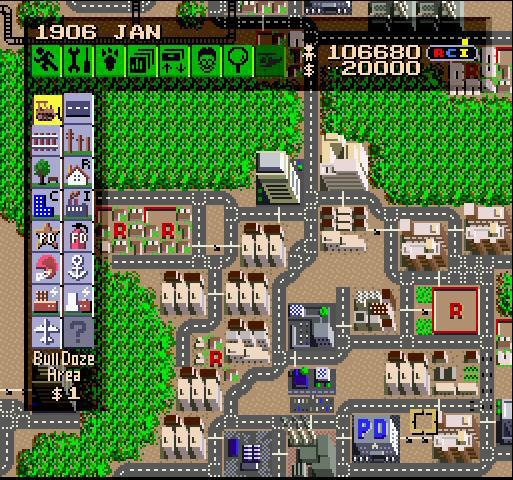 une photo d'écran de Sim City sur Nintendo Super Nes