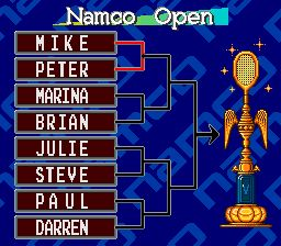 une photo d'écran de Smash Tennis sur Nintendo Super Nes