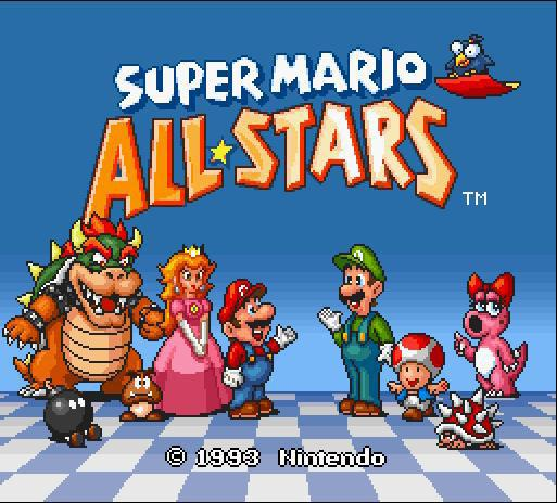une photo d'écran de Super Mario All Stars sur Nintendo Super Nes