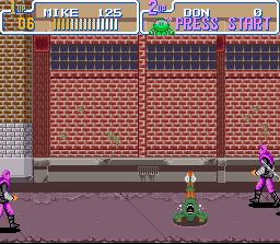 une photo d'écran de Teenage Mutant Ninja Turtles IV - Turtles In Time sur Nintendo Super Nes