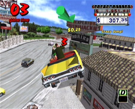 une photo d'écran de Crazy Taxi sur Sega Dreamcast