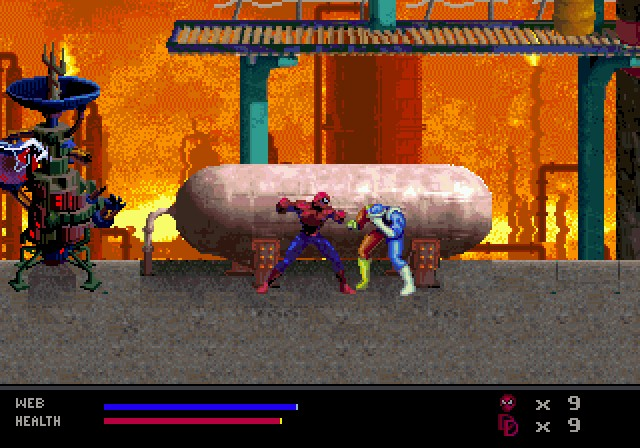 une photo d'écran de Spider-Man - Web of Fire sur Sega Megadrive 32X