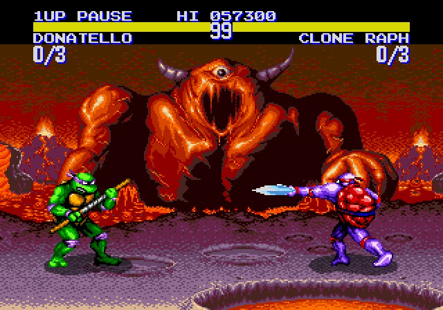 une photo d'écran de Teenage Mutant Hero Turtles - Tournament Fighters (Megadrive) sur Sega Megadrive