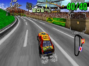 une photo d'écran de Daytona USA sur Sega Saturn