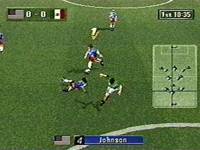 une photo d'écran de Sega Worldwide Soccer 97 sur Sega Saturn