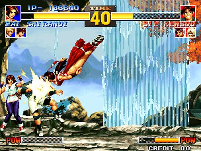 une photo d'écran de The King of Fighters 95 sur Sega Saturn