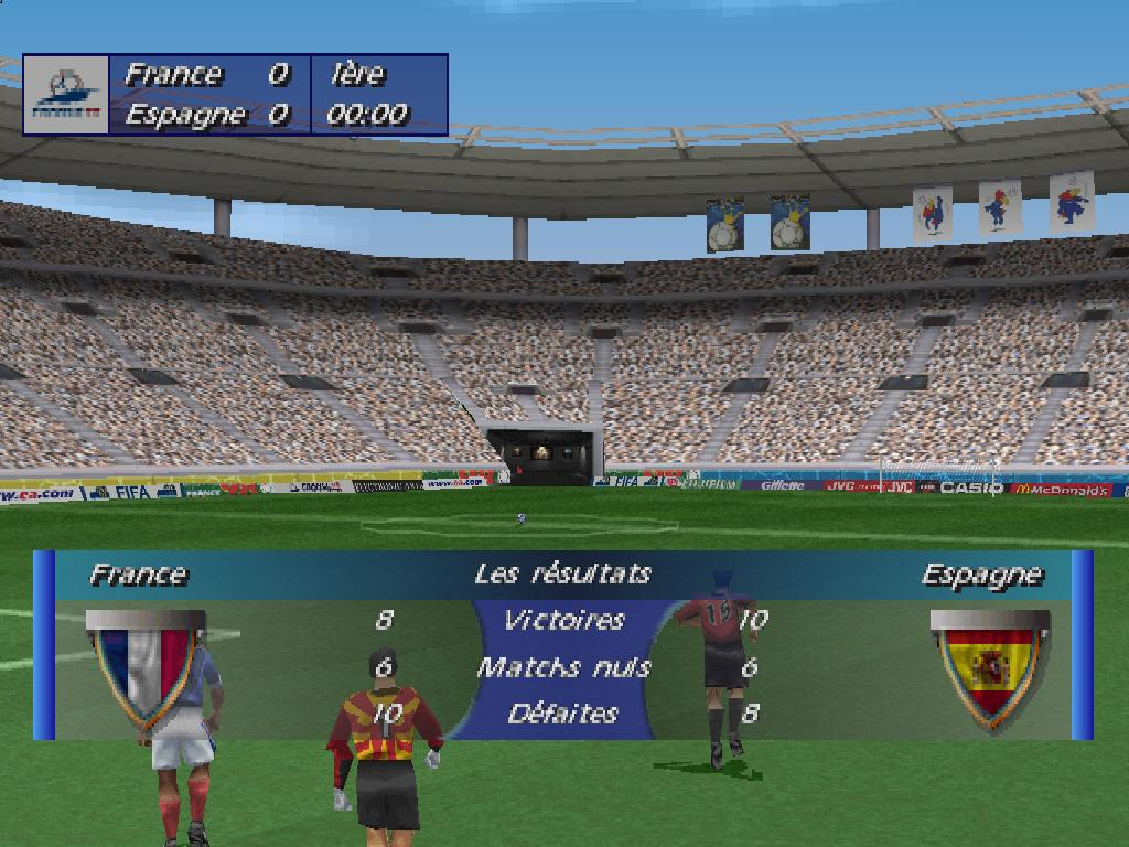 une photo d'écran de Coupe du Monde 98 sur Sony Playstation