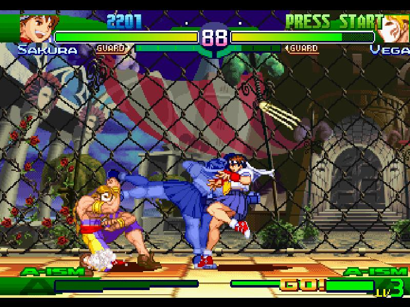 une photo d'écran de Street Fighter Alpha 3 sur Sony Playstation