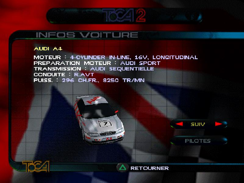 une photo d'écran de TOCA 2 Touring Cars sur Sony Playstation