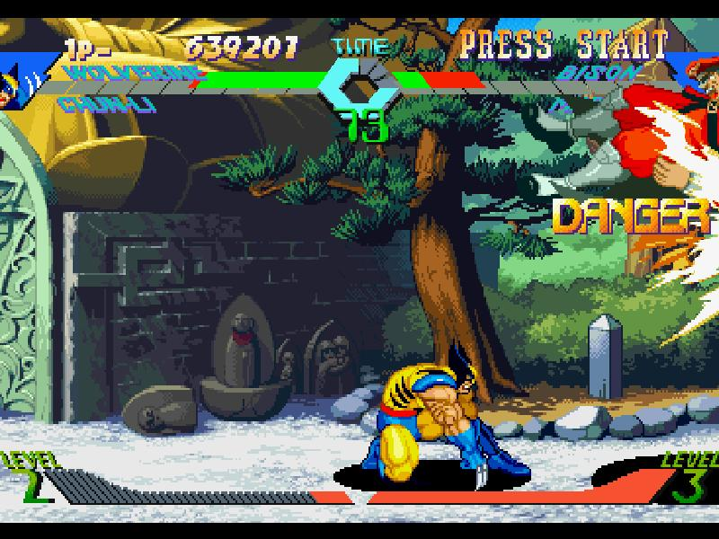une photo d'écran de X-Men VS Street Fighter sur Sony Playstation